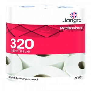 Toilet Roll - Traditional - Jangro - White - 2 Ply - 320 Sheet