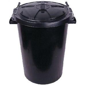 Dustbin & Cip-on Lid - Black - 90L (19.8 gal)