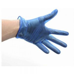 Disposable Gloves - Pre-Powdered - Vinyl - Blue - Large