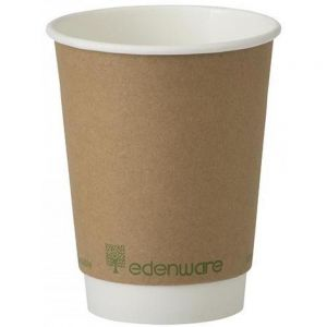 Hot Cup - Double Wall - Paper - Biodegradable - Edenware - Brown - 12oz (34cl) - 90mm dia