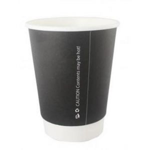 Coffee Cup - Double Wall - Paper - Black - 12oz (34cl) - 90mm dia