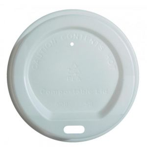 Sip Through Lid - Coffee Cup  - Biodegradable- Edenware - White - 10-12-16oz (28 - 34-45cl) Cups - 90mm dia
